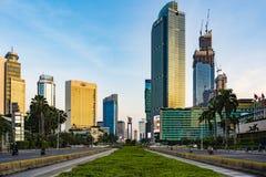 Free Jakarta Skyline Around HI Roundabout Bundaran HI, As Viewed From MH Thamrin Street, At Sunset. Royalty Free Stock Photography - 183728667