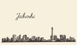 Jakarta skyline engraved illustration drawn sketch Royalty Free Stock Photos