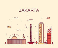 Jakarta skyline trendy vector illustration linear Stock Photo