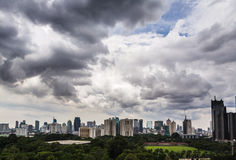 Jakarta skyline. Under a threatening sky. This show the Senayan area of Indonesia capital city stock images