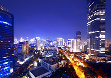 Jakarta stad på natten Royaltyfri Fotografi