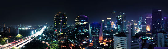 Jakarta-Stadt nachts Lizenzfreies Stockbild
