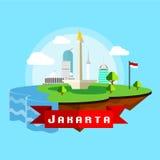 Jakarta-Stadt Scape-Vektor in der flachen Art Lizenzfreie Stockfotografie