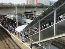 Jakarta train passengers. Stock Image