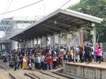 Jakarta urban transportation. JAKARTA, INDONESIA - October 3, 2017: Crowd of people waiting for commuter line train at Duri Station Stock Photo