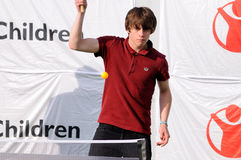 Jake Bugg plays table tennis, or ping pong, on the backstage at FIB (Festival Internacional de Benicassim) 2013 Festival Royalty Free Stock Photos