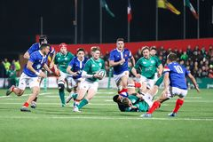 Jake Flannery no sob 20 seis nações combina entre a Irlanda e o França no parque do Irish Independent fotografia de stock