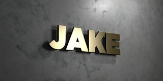 Jake - Gold sign mounted on glossy marble wall  - 3D rendered royalty free stock illustration Royalty Free Stock Photography