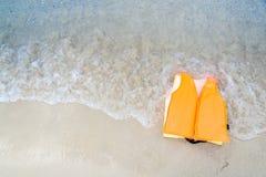 Jaket orange de la vie Photo stock