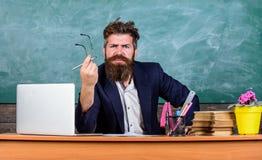 Jaki głupia myśl Niemiły cud Nauczyciel zastanawiał się niskiego poziom wiedza Co są wami opowiada wokoło Mężczyzna brodaty obrazy stock