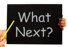 Jaki Następny Blackboard Znaczy Podąża kroki Fotografia Stock
