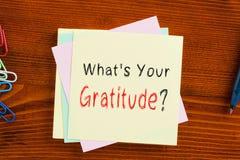 Jaki ` s Twój wdzięczność fotografia stock