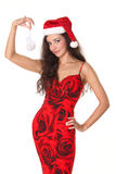 jako Santa piękna ubierająca kobieta Obrazy Royalty Free