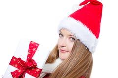 jako ubierający prezenta mienia Santa kobiety xmas Obraz Stock