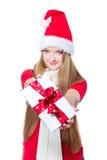jako ubierający prezenta mienia Santa kobiety xmas Zdjęcia Royalty Free