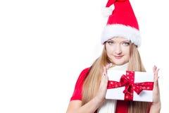 jako ubierający prezenta mienia Santa kobiety xmas Fotografia Stock