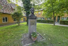 Jakob Fugger monument. Monument to Jakob Fugger - the founder of Fuggerei - the world`s oldest social housing complex still in use. Augsburg, Germany Royalty Free Stock Images