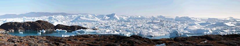 Jakobshavn de fjord de glace d'Ilulissat près d'Ilulissat en été Photo libre de droits
