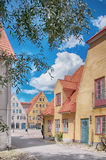 Jakriborg, Sweden 16. JAKRIBORG, SWEDEN - JUNE 24: Picture of street in Jakriborg, Sweden on June 24, 2014. Jakriborg is a new classical housing project built in royalty free stock photography