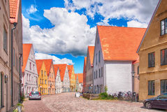 Jakriborg, Sweden. JUNE 24: Picture of street in  on June 24, 2014. Jakriborg is a new classical housing project built in the municipality of Staffanstorp in Royalty Free Stock Photo