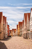 Jakriborg, Sweden 48. JAKRIBORG, SWEDEN - JUNE 24: Picture of street in Jakriborg, Sweden on June 24, 2014. Jakriborg is a new classical housing project built in Royalty Free Stock Photos
