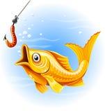 jakt för fiskfiskeguld avmaskar royaltyfri illustrationer