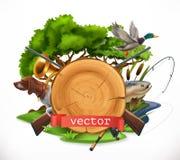Jakt och fiske emblem för vektor 3d royaltyfri illustrationer