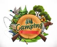 Jakt och fiske isolerad vektorwhite för 8 emblem eps stock illustrationer