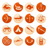 Jakt- och fiskeklistermärkear stock illustrationer