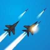 Jaktflygplan avfyrade missiler royaltyfri illustrationer
