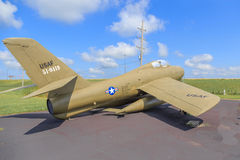 Jaktflygplan för U.S.A.F.-republik F-84 Thunderstreak Arkivfoto