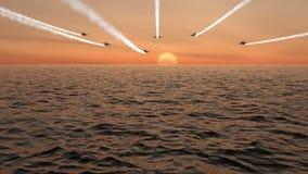 Jaktflygplanfluga över och lyfta av över havet på solnedgången vektor illustrationer