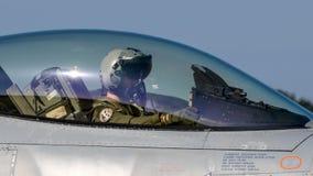 Jaktflygplanflygplan för pilot- cockpit Arkivbilder