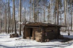 Jaktläger, 19th århundrade Irkutsk arkitektoniskt och ethnographic museum ?Taltsy ?, arkivfoton