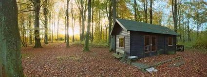 Jaktloge i det skyddade landskapet Naturwald Busdorf i Mecklenburg-Vorpommern, Tyskland Arkivfoto