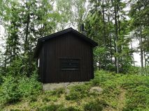 Jaktloge på sjön Fotografering för Bildbyråer