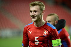 Jakub Brabec, capitain της ομάδας Δημοκρατίας της Τσεχίας U21 στοκ φωτογραφία