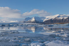 Jakulsarlon lake in winter with mountain background, Iceland Stock Photo