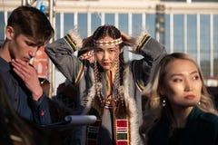 Jakutsk, Yakutia/Russland 21. Mai 2019: Feier eines bedeutenden Ereignisses - die Einbeziehung von acht Bezirken Yakutia im Arct lizenzfreies stockbild