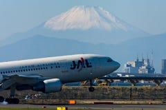 JAL A300 all'AEROPORTO internazionale di Tokyo Fotografia Stock Libera da Diritti