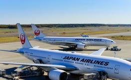 JAL Airplane em Chitose Ariport novo Imagem de Stock