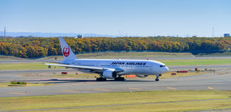JAL Airplane at New Chitose Ariport Royalty Free Stock Photo