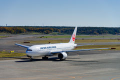 JAL Airplane at New Chitose Ariport Royalty Free Stock Photos