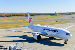 JAL Airplane at New Chitose Ariport Stock Photos