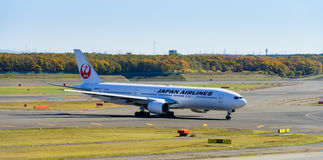 JAL Airplane in Nieuw Chitose Ariport Stock Foto