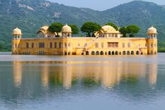 Jal Mahal in Jaipur. The Historical Jal Mahal or Water Palace in Jaipur with aravali hills in background.Jaipur,Rajasthan,India Stock Photography