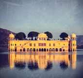 Jal Mahal (Water Palace).  Jaipur, Rajasthan, India. Vintage retro hipster style travel image of Rajasthan landmark - Jal Mahal (Water Palace) on Man Sagar Lake Royalty Free Stock Photos