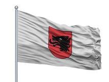 Jalal Abad City Flag On-Vlaggestok, Kyrgyzstan, op Witte Achtergrond wordt geïsoleerd die Royalty-vrije Illustratie