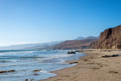 Jalama Beach near Lompoc. The cliffs and long sandy beach at the remote and uncrowded beach on California's Central Coast Royalty Free Stock Photography