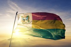 Jalapa Department of Guatemala flag textile cloth fabric waving on the top sunrise mist fog. Beautiful stock images
